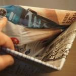 くず入れに、新聞紙で作る内袋が便利。